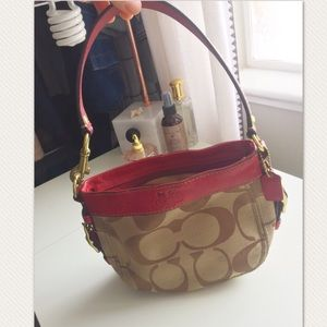 Red and brown coach bag